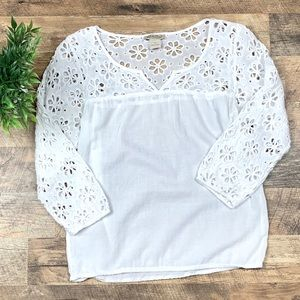 Lucky Brand white Floral Blouse Size XS